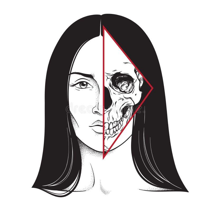 Het mooie brunette met halve getrokken zwart-witte de lijnkunst van het schedelgezicht hand en de punt werken Flitstatoegering, a stock illustratie
