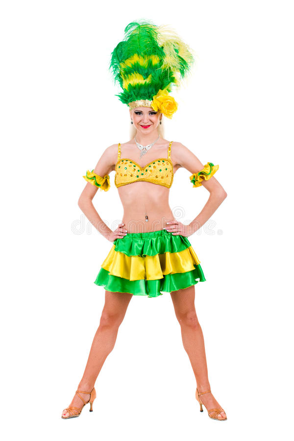 Het mooie Carnaval dansersvrouw stellen royalty-vrije stock fotografie