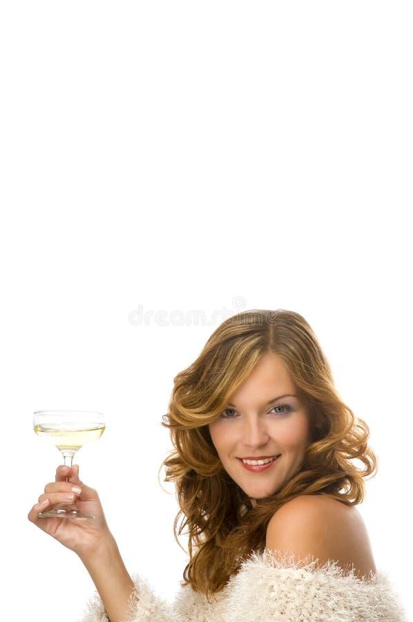 Het mooie dame roosteren met champagne stock afbeeldingen