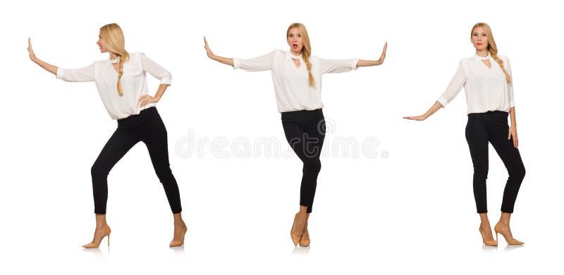 Het mooie die meisje in bureaukledij op wit wordt geïsoleerd royalty-vrije stock foto