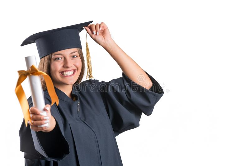 Het mooie diploma van de meisjesholding Geïsoleerde stock foto