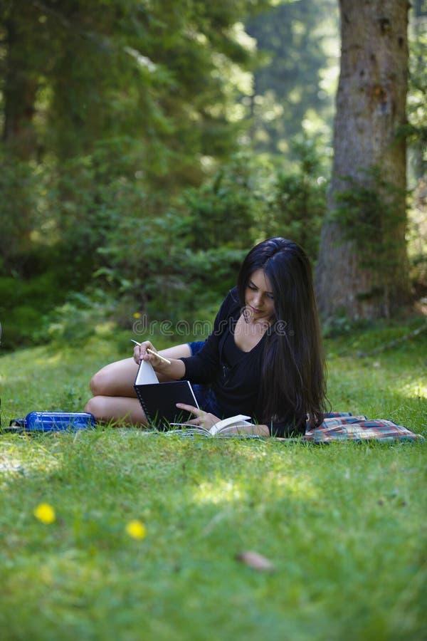 het mooie donkerbruine vrouw bestuderen stock fotografie