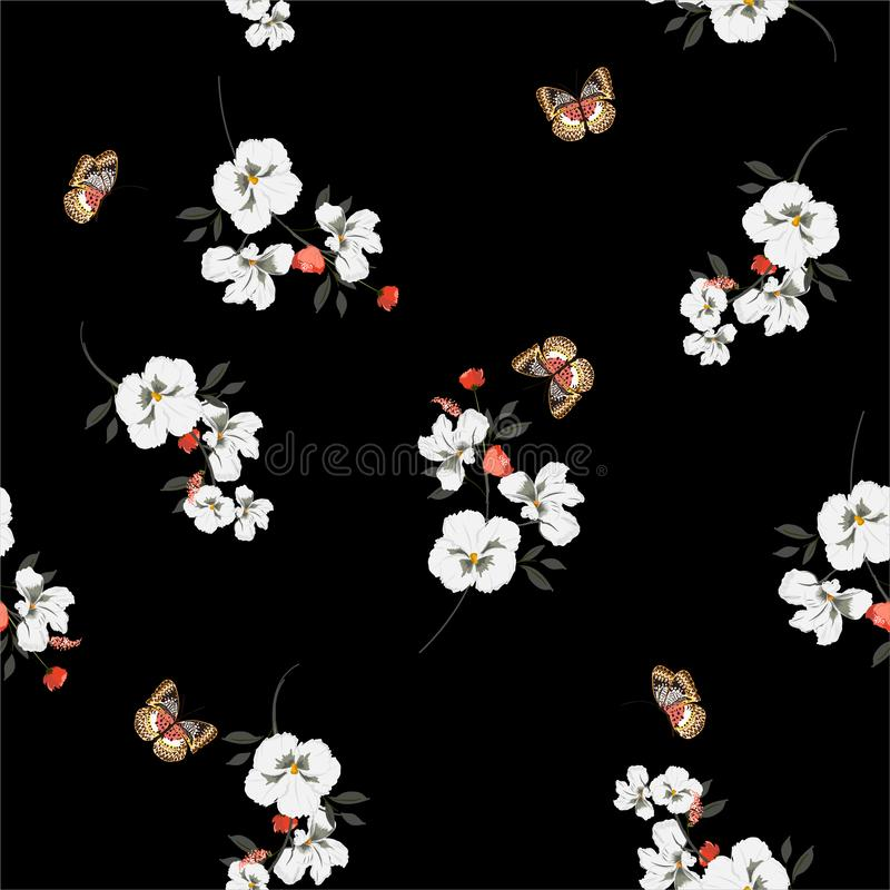 Het mooie donkere tuin witte viooltje bloeit met vlinders zacht en zacht naadloos patroon op vectorontwerp voor manier, stof, royalty-vrije illustratie