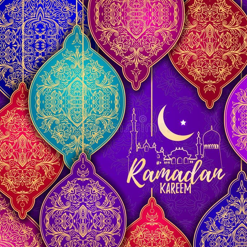 Het mooie Elegante gestileerde Hangen van Ramadan Kareem Lanterns of Fanous- vector illustratie