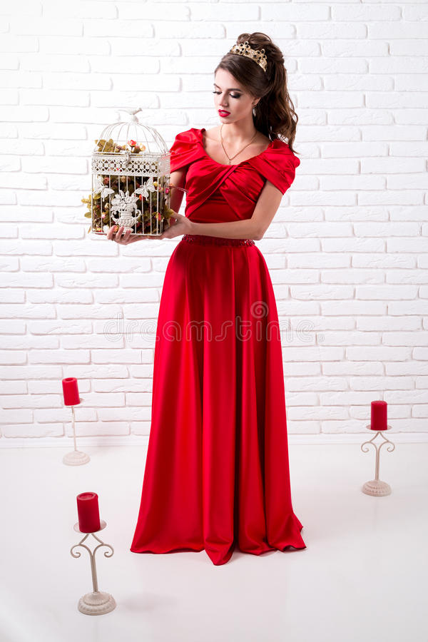 Het mooie elegante meisje in een lange rode kleding en schoenen houdt bir stock foto