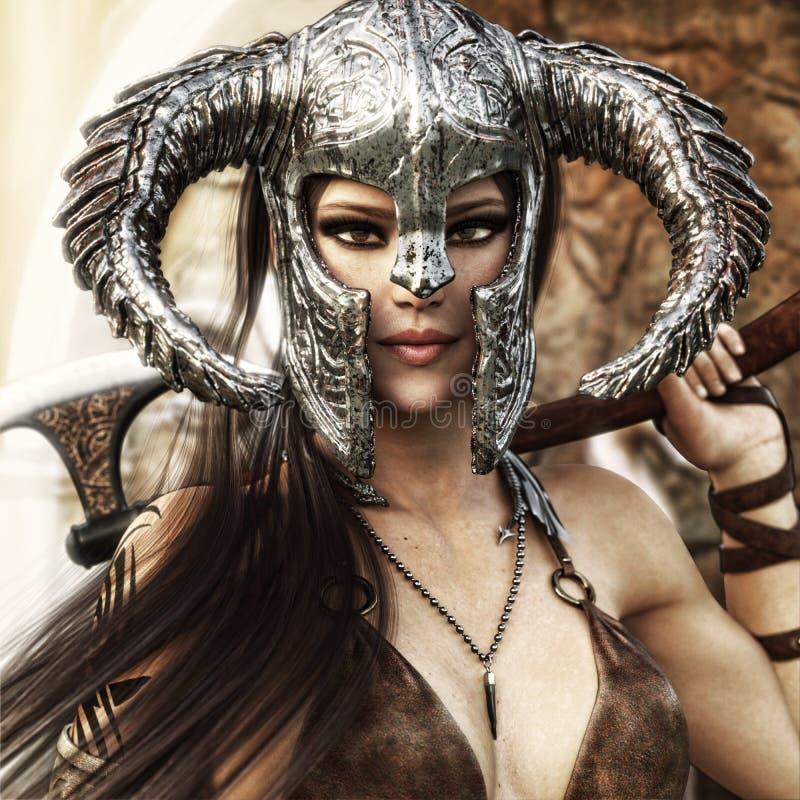 Het mooie en dodelijke wijfje die van de fantasiestrijder een traditioneel barbaars stijlkostuum dragen royalty-vrije illustratie