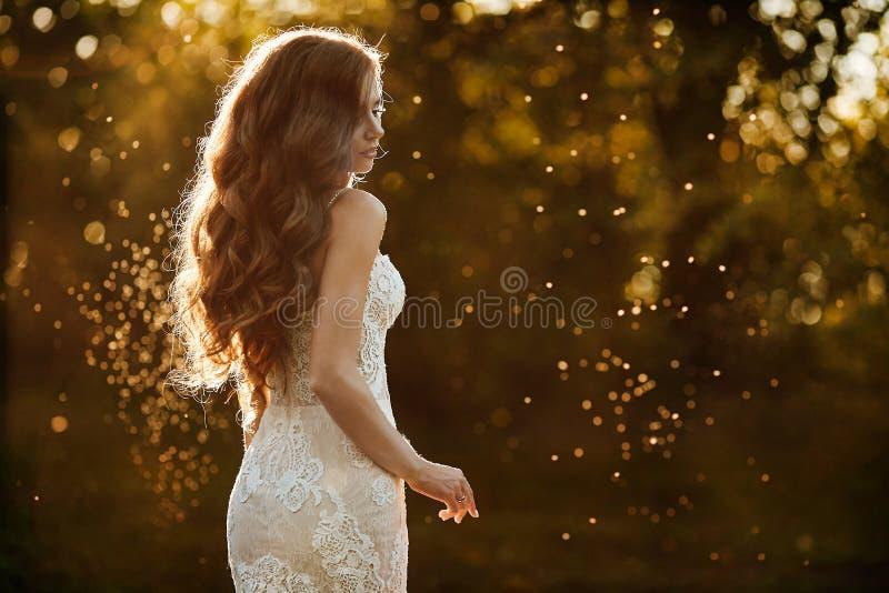 Het mooie en jonge donkerbruine modelmeisje, in witte kantkleding, bevindt zich met haar terug bij het park bij de zonsondergang royalty-vrije stock afbeelding