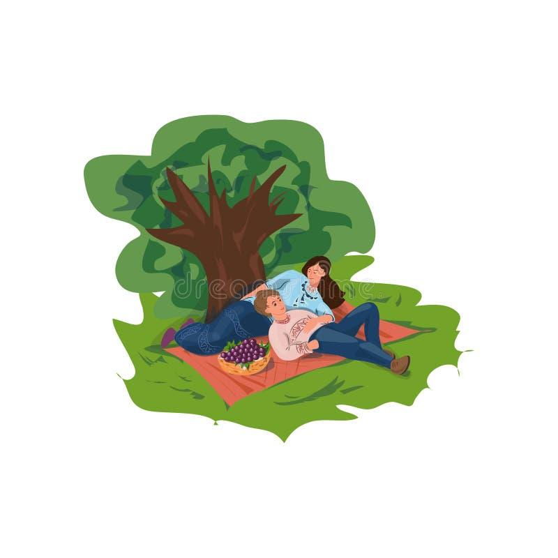 Het mooie familiepaar is rust in stads groen park met vruchten royalty-vrije illustratie