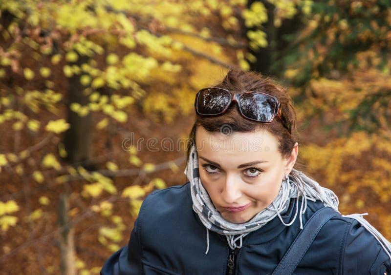 Het mooie gekke donkerbruine stellen in de herfst in openlucht, trillende colo stock afbeeldingen