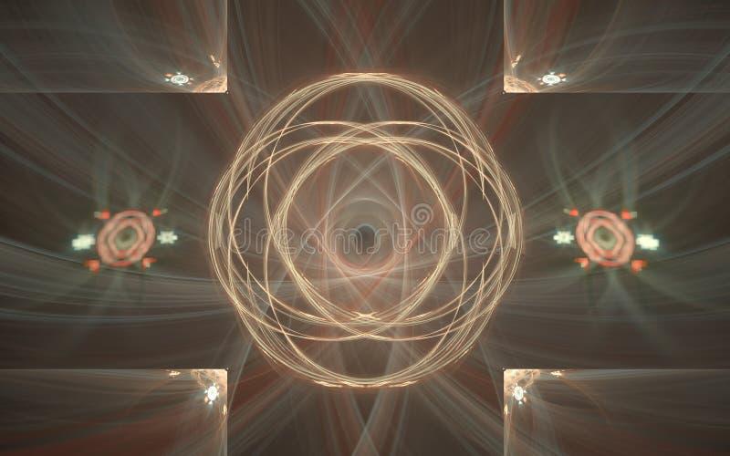 Het mooie gekleurde fractal digitale kunstbeeld kan uw werk illustreren De meetkunde geeft creatief concept gestalte Achtergrondb stock illustratie