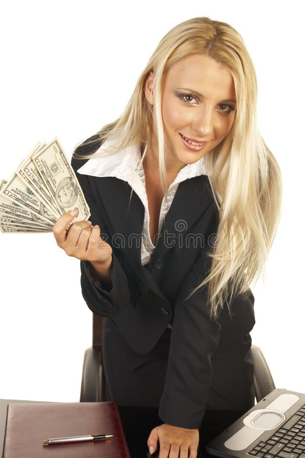 Het mooie Geld van de Blondeholding royalty-vrije stock afbeelding