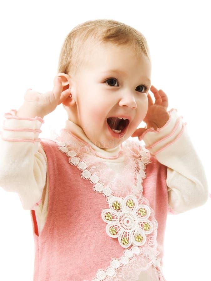 Het mooie gelukkige baby glimlachen stock fotografie