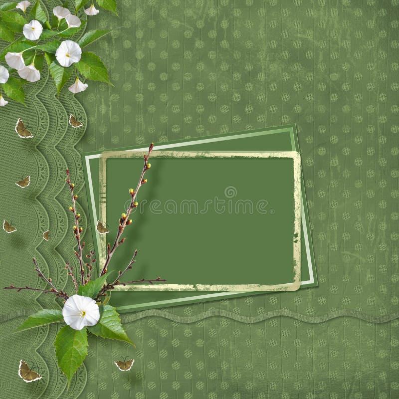 Het mooie gevoelige boeket van winde en het bloeien vertakt zich met linten en bogen in de stijl van plakboek vector illustratie