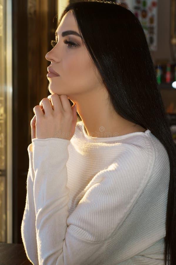 Het mooie gezicht van de profiel donkerbruine vrouw in witte sweater stock afbeelding
