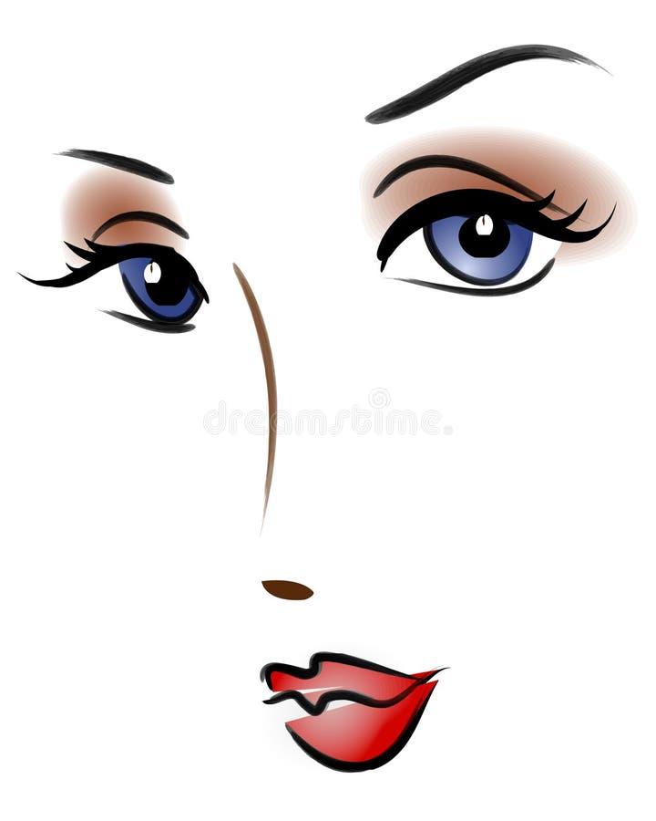 Het mooie Gezicht van het Beeldverhaal van de Vrouw vector illustratie