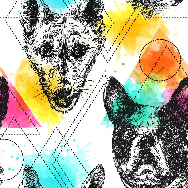 Het mooie hand getrokken vector naadloze patroon schetsen van hond stock illustratie