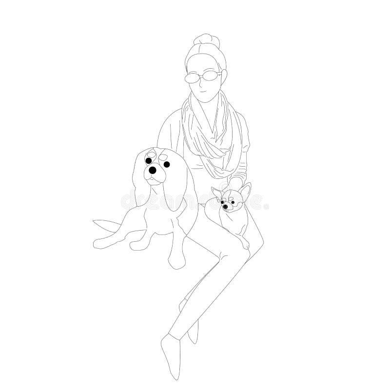 Het mooie hand getrokken vlakke stijlmeisje met zonnebril petting twee kleine honden royalty-vrije illustratie