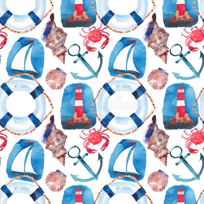 Het mooie heldere kleurrijke mooie patroon van het de zomer mariene strand van reddingsboei, blauw anker, rode witte seamark, rod stock illustratie