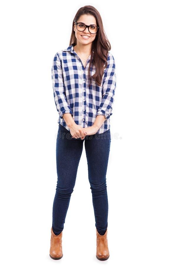 Het mooie hipstermeisje glimlachen royalty-vrije stock foto