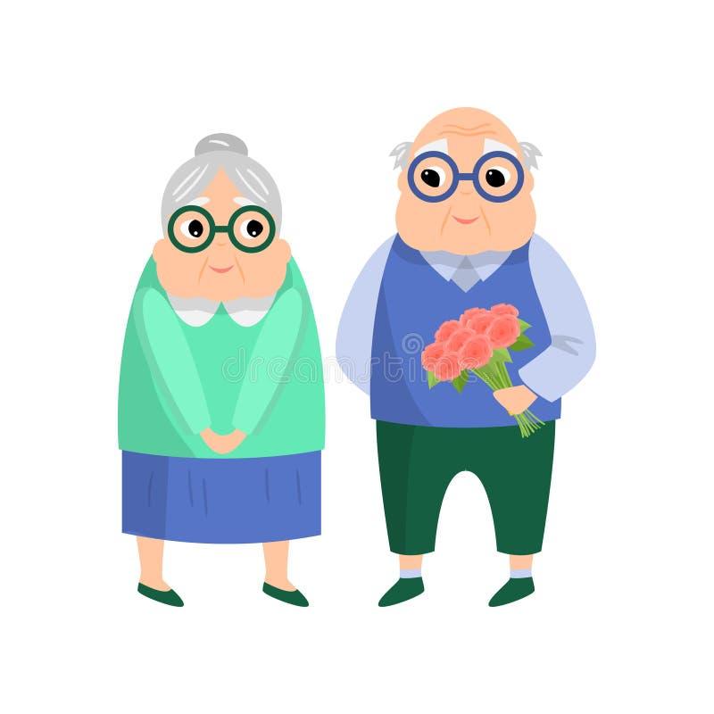 Het mooie hogere paar, oude mens geeft bloemboeket vector illustratie