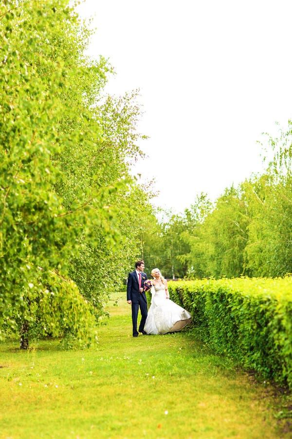 Het mooie huwelijkspaar geniet van huwelijk stock foto's
