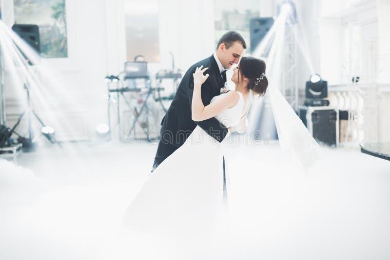 Het mooie huwelijkspaar huwde enkel en dansend hun eerste dans stock afbeelding