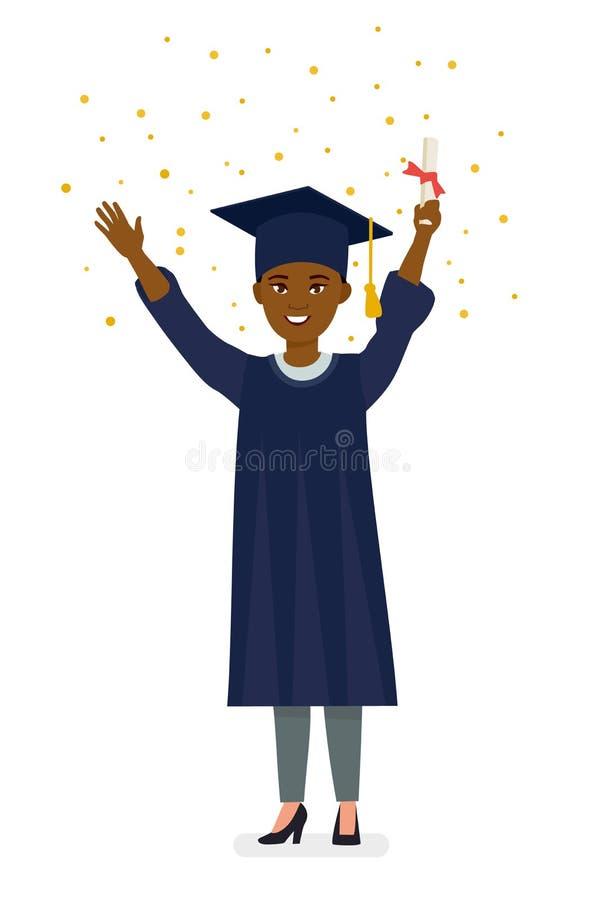 Het mooie jonge diploma van de afro Amerikaanse gediplomeerde holding met confettien Illustratie van het beeldverhaal de vectorka vector illustratie
