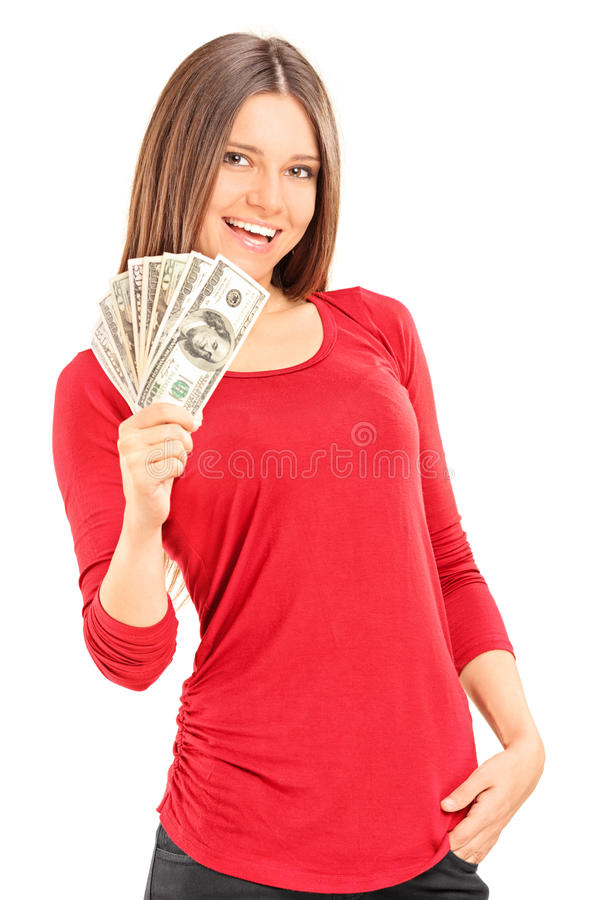 Het mooie jonge geld van de vrouwenholding royalty-vrije stock foto's