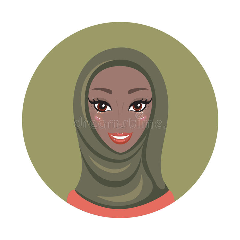 Het mooie jonge gelukkige Moslimportret van het vrouwenmeisje in hijab vector illustratie