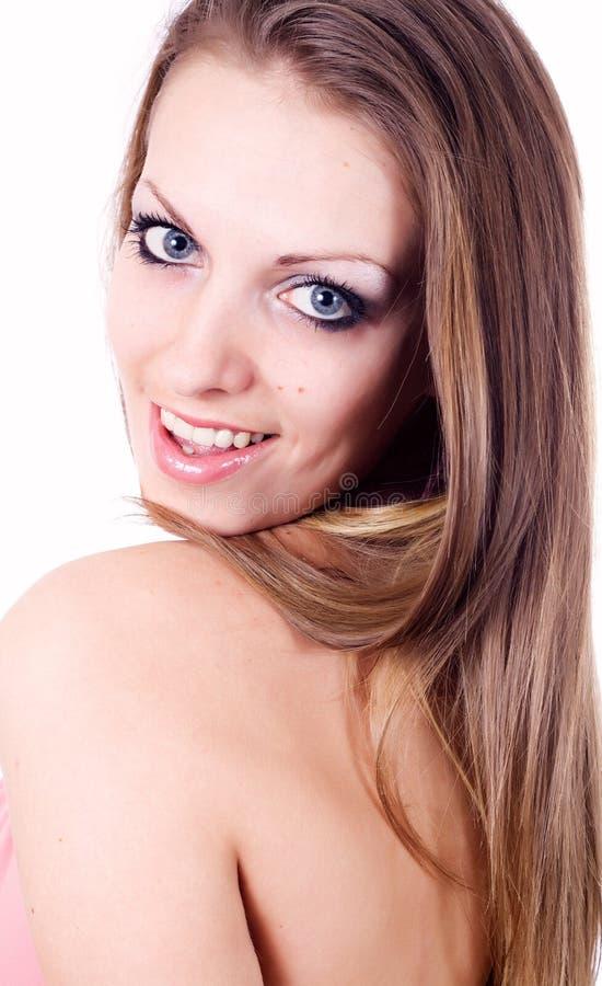 Het mooie Jonge Lachen van de Vrouw stock afbeeldingen