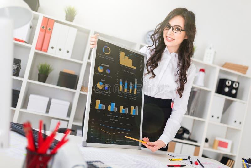 Het mooie jonge meisje bevindt zich dichtbij een bureau en richt met een pen op een lege raad stock fotografie