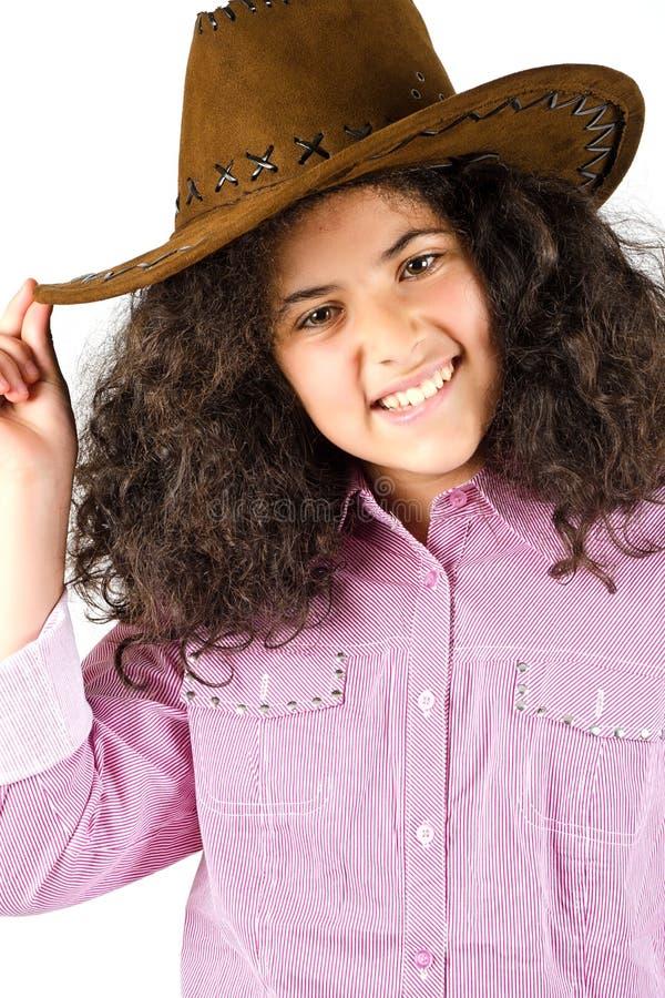 Het mooie jonge meisje glimlachen stock foto's