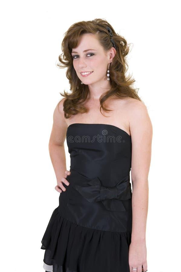 Het mooie jonge meisje kleedde zich omhoog voor prom royalty-vrije stock foto