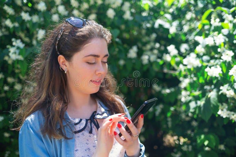 Het mooie jonge vrouw typen op telefoon Installaties op de achtergrond De ruimte van het exemplaar Concept moderne technologie en stock fotografie