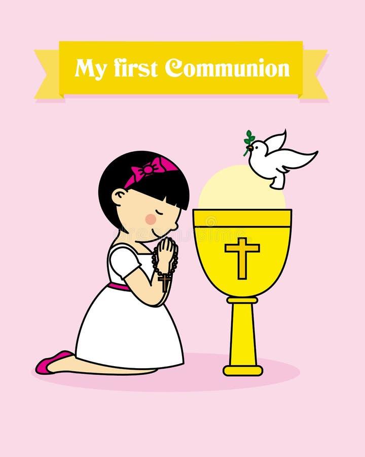 Het mooie jonge vrouwelijke bidden Heilige Communiekaart vector illustratie