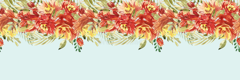 Het mooie kader van de waterverfgrens met pioen, bloem, gebladerte, takken Met de hand geschilderde mooie illustratie kan worden  stock illustratie
