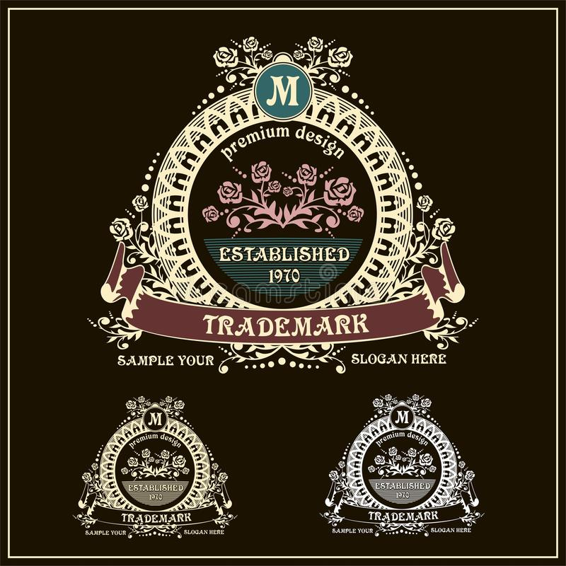 Het mooie kalligrafische malplaatje van het monogramembleem stock illustratie