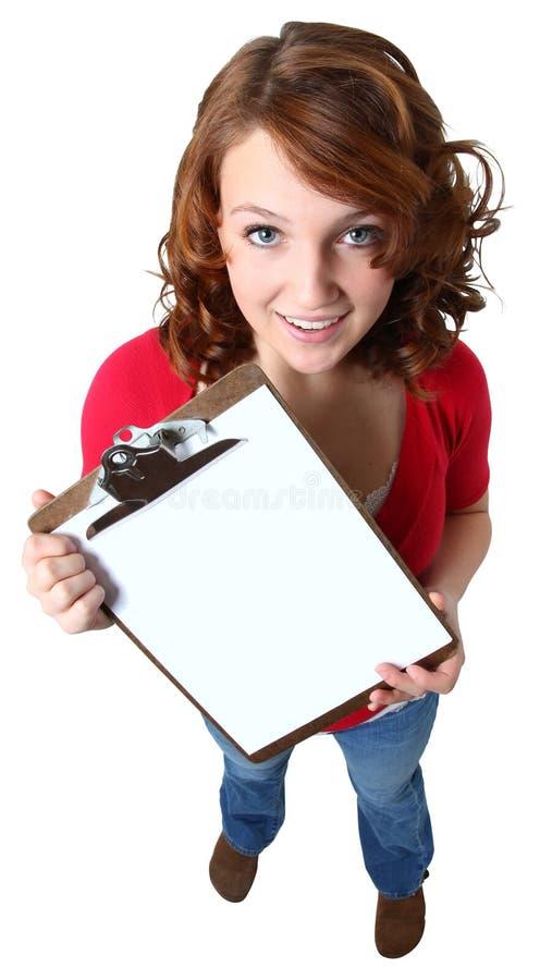 Het mooie Klembord van de Holding van het Meisje van de Tiener royalty-vrije stock foto