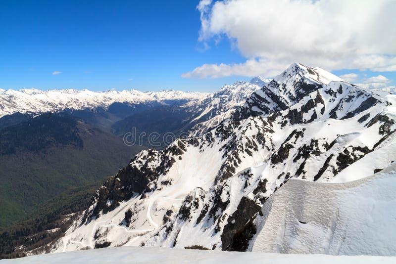 Het mooie landschap in de bergen in Krasnaya Polyana stock fotografie