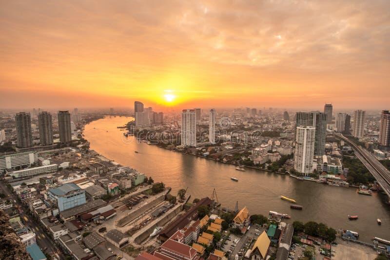 Het mooie landschap van Bangkok de hoofdsteden van Thailand stock afbeeldingen