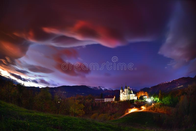 Het mooie landschap van Slovenië, aard en de herfstscène royalty-vrije stock fotografie