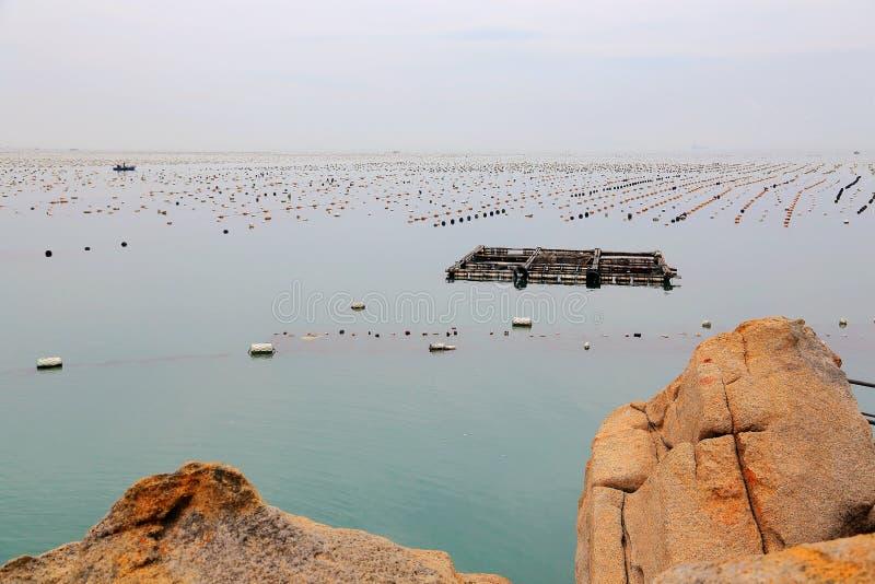 Het mooie landschap van het strand in het eiland van shantounanao, Guangdong, China royalty-vrije stock fotografie
