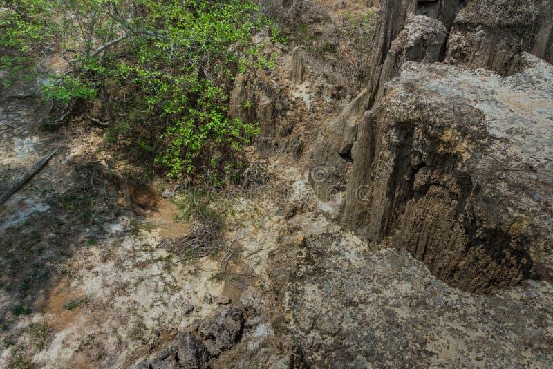 Het mooie Landschap van Waterstromen door de grond heeft erosie en instorting van de grond in een natuurlijke laag in Pong Yub, stock foto's