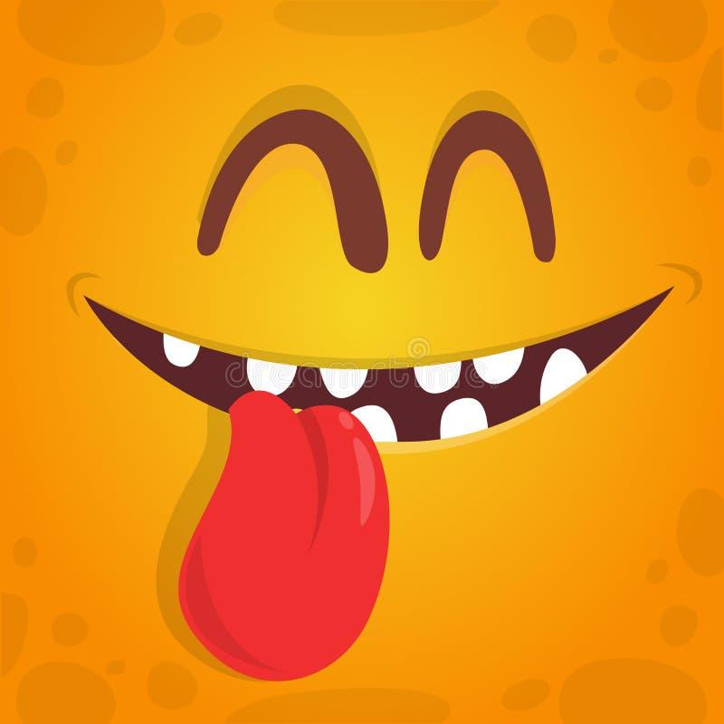 Het mooie leuke gezicht van het beeldverhaalmonster met het hangen van tong Het vector oranje monster van Halloween vector illustratie