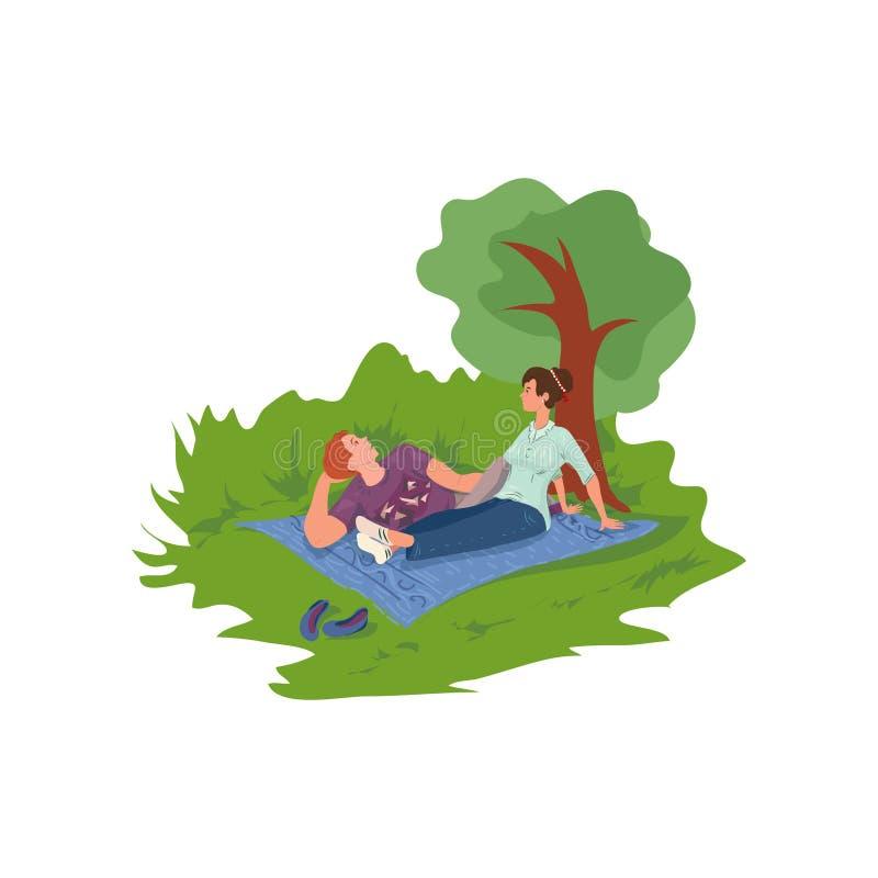 Het mooie leuke paar is rust in stad park en het spreken stock illustratie
