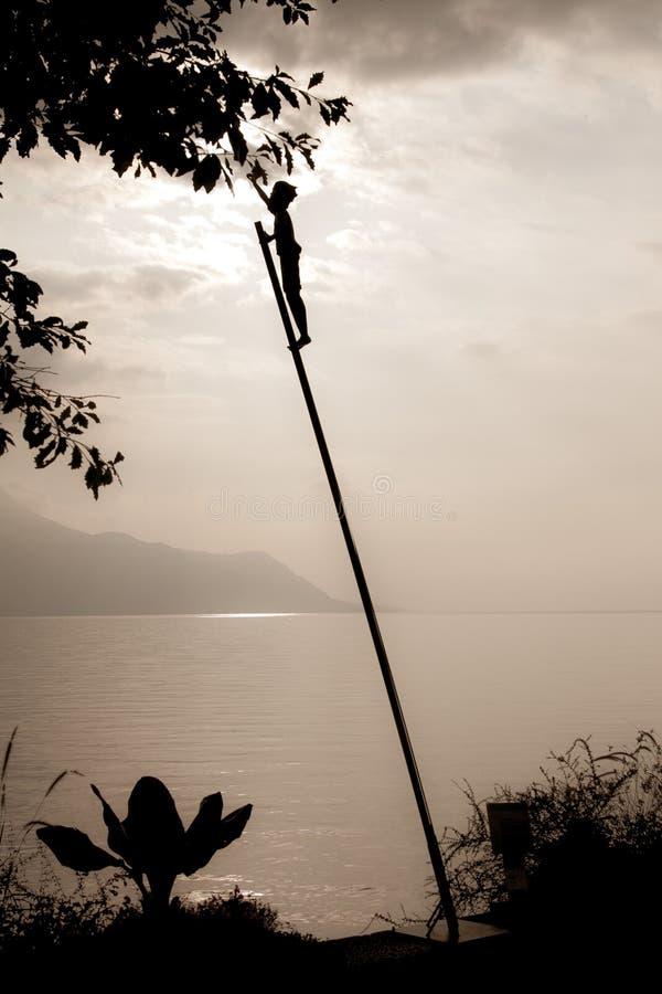 Het mooie meer van Zonsonderganggenève royalty-vrije stock foto