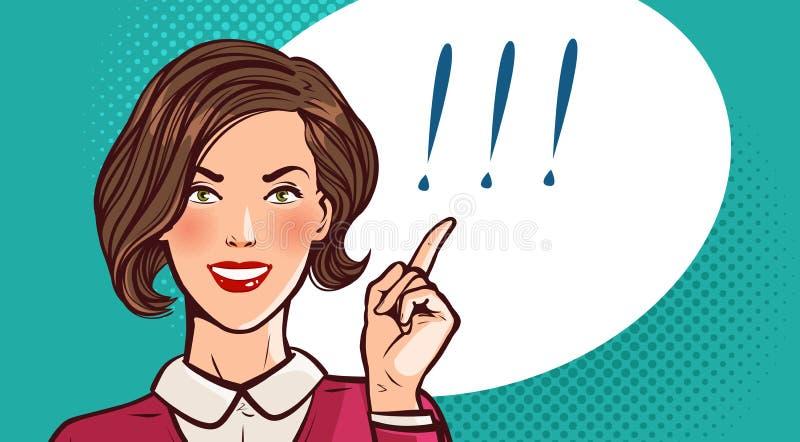 Het mooie meisje, de vrouw of de onderneemster zeggen Bedrijfs concept Pop-art retro grappige stijl De vectorillustratie van het  vector illustratie