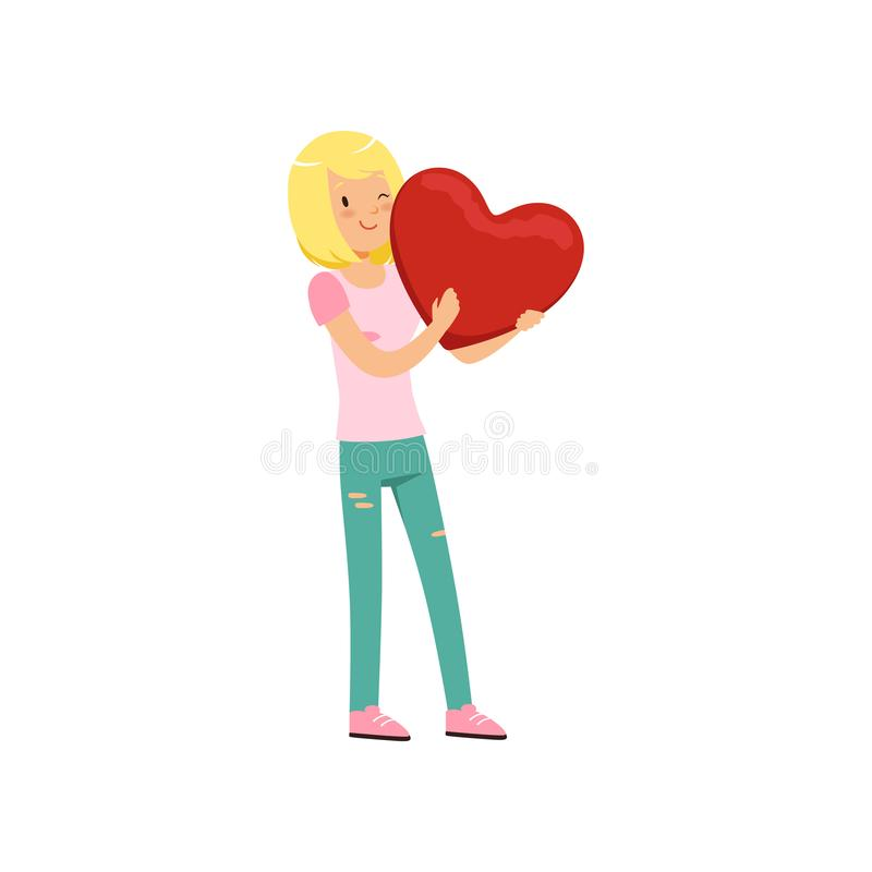 Het mooie meisje die van de blondetiener rood hart, het Gelukkige concept van de Valentijnskaartendag, liefde en verhoudingen vec vector illustratie