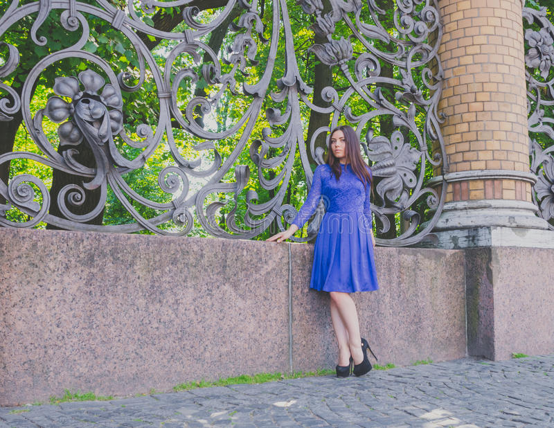 Het mooie meisje in een blauwe kleding bevindt zich dichtbij de oude smeedijzeromheining royalty-vrije stock fotografie