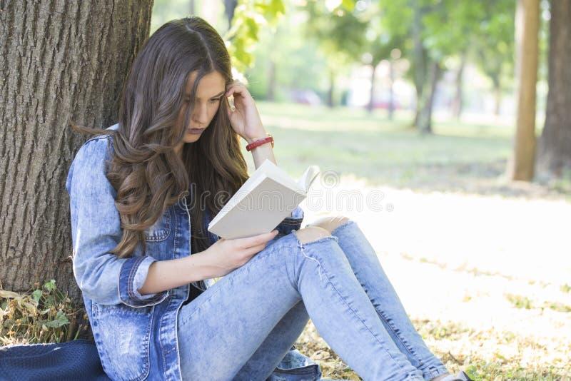 Het mooie meisje, een student, leest een boek terwijl het zitten in gra stock afbeeldingen